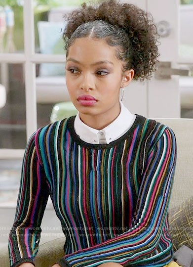 Zoey's multi colored stripe sweater on Black-ish