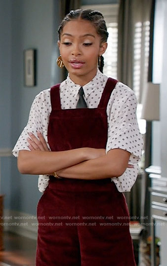 Zoey's red corduroy overalls on Black-ish