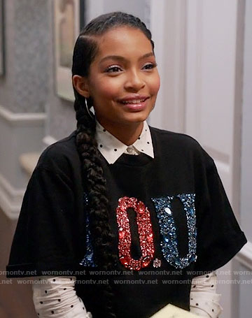 Zoey's black embellished I.O.U. top on Black-ish