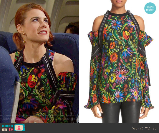 3.1 Phillip Lim Floral Cold Shoulder Top worn by Sally Spectra (Courtney Hope) on The Bold & the Beautiful
