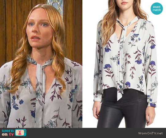 ASTR Floral Print Tie Neck Blouse worn by Marci Miller on Days of our Lives