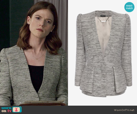 Alexander McQueen Fold Peplum Jacket worn by Rose Leslie on The Good Fight