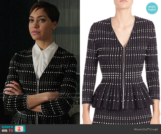 Alexander Mcqueen Pleated Knit Peplum Top worn by Cush Jumbo on The Good Fight