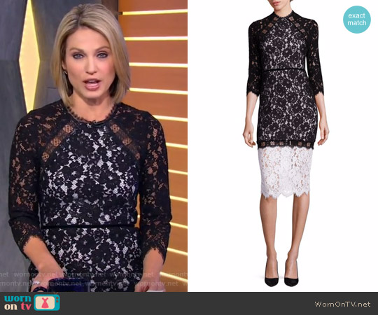 Whitney Lace Colorblock Dress by Alexis worn by Amy Robach on Good Morning America