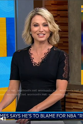 Amy's black lacy trim v-neck dress on Good Morning America
