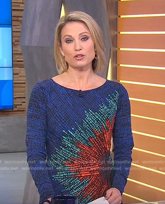 Amy's multi-color print dress on Good Morning America