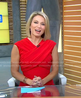 Amy's red cross neck dress on Good Morning America
