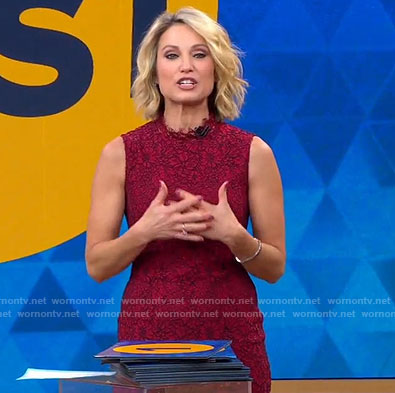 Amy's red sleeveless lace dress on Good Morning America
