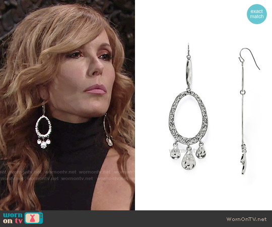 Aqua Diana Hammered Drop Earrings worn by Lauren Fenmore on The Young & the Restless