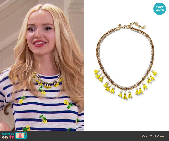 Banana Republic Floral Bell Necklace worn by Dove Cameron on Liv & Maddie