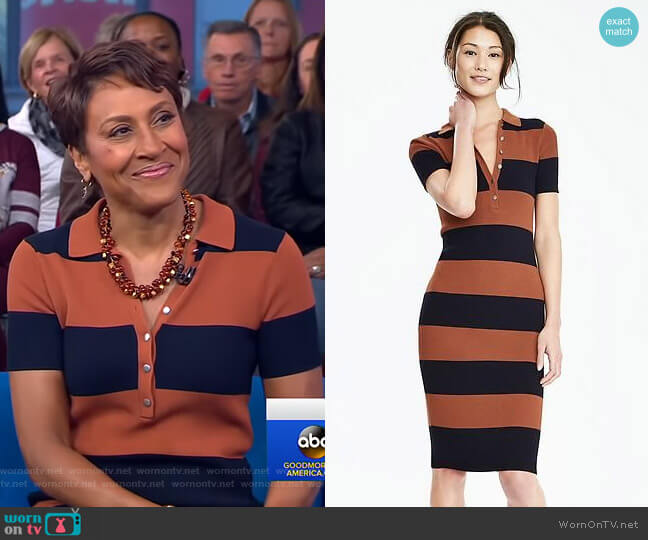 Ribbed Polo Sweater Dress by Banana Republic worn by Robin Roberts (Robin Roberts) on Good Morning America