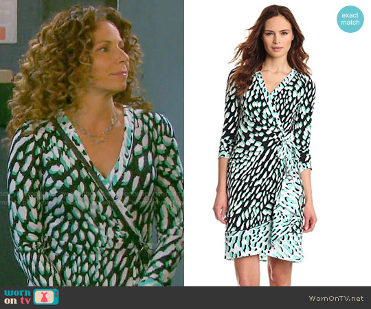 Bcbgmaxazria Quindan Dress in Light Evergreen worn by Meredith Scott Lynn on Days of our Lives