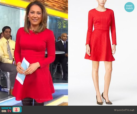 Cable-Knit Fit & Flare Dress by Betsey Johnson worn by Ginger Zee on Good Morning America