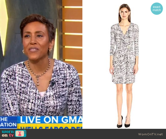 3/4 Sleeve Mock Wrap Dress by Calvin Klein worn by Robin Roberts on Good Morning America