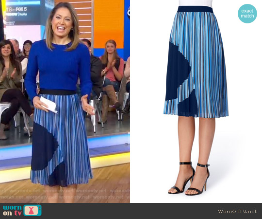Francis Pleat A-Line Skirt by Catherine Malandrio worn by Ginger Zee on Good Morning America