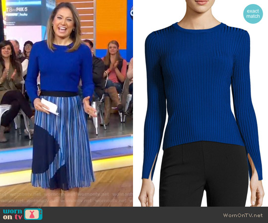 Wide Ribbed Pullover Sweater by Catherine Malandrio worn by Ginger Zee on Good Morning America