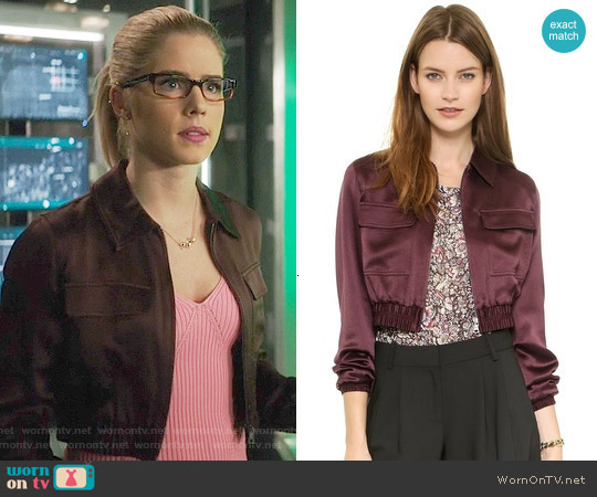 Club Monaco Seraphina Cropped Bomber Jacket worn by Emily Bett Rickards on Arrow