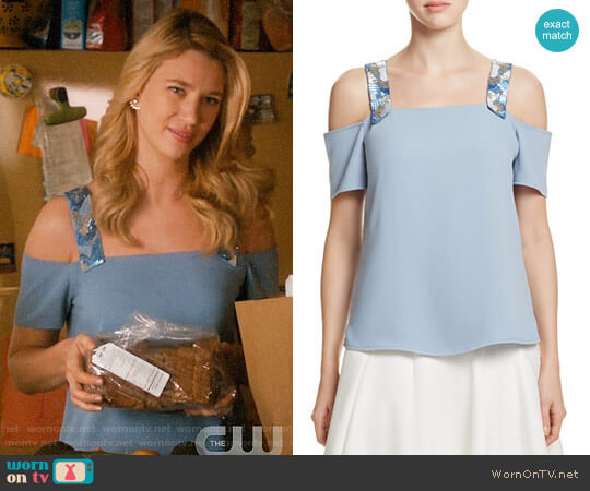 Cooper & Ella Sandra Top in Stone Blue worn by Yael Grobglas on Jane the Virgin