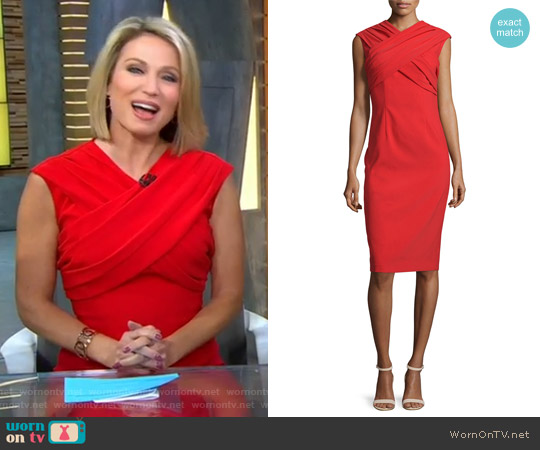 Cap-Sleeve Crisscross Sheath Dress by David Meister worn by Amy Robach on Good Morning America
