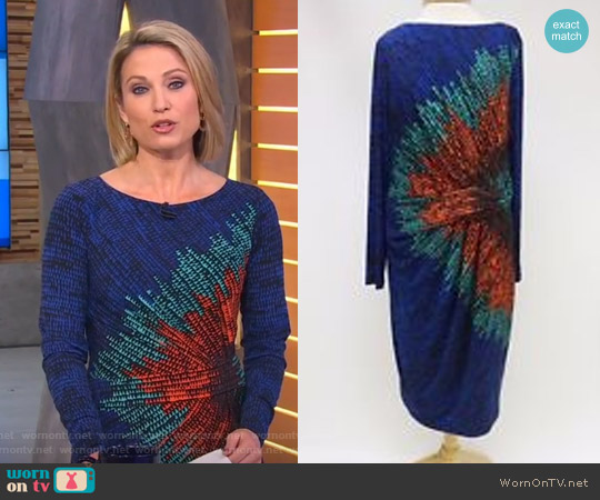 Blue Multi Print Pleated Detail Sheath Dress by David Meister worn by Amy Robach (Amy Robach) on Good Morning America