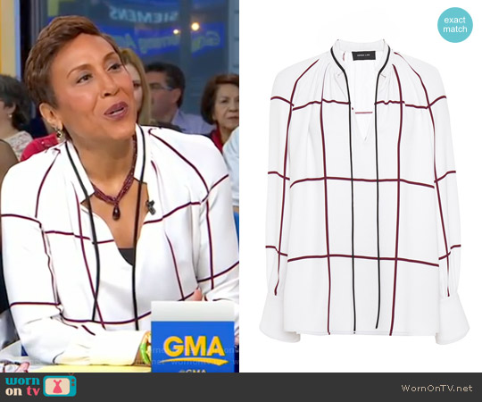 Windowpane Print Tie Front Blouse by Derek Lam worn by Robin Roberts on Good Morning America