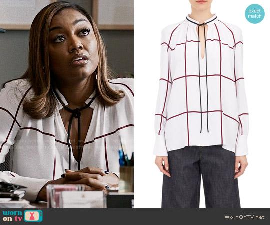 Derek Lam Windowpane Print Tie Front Blouse worn by Daisy Grant (Patina Miller) on Madam Secretary