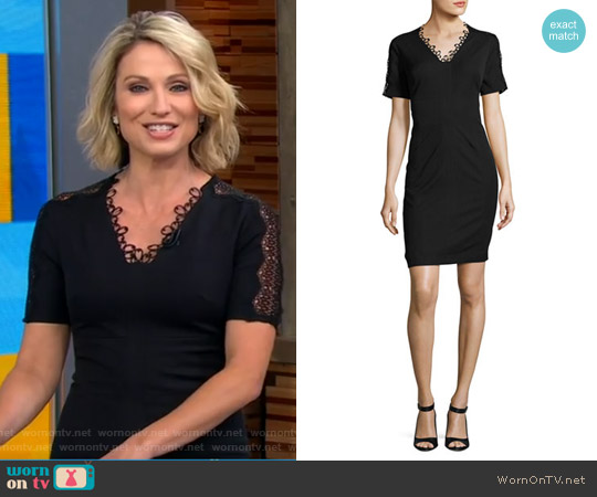 Ainsley Short-Sleeve Lace-Trim Sheath Dress by Elie Tahari worn by Amy Robach  on Good Morning America