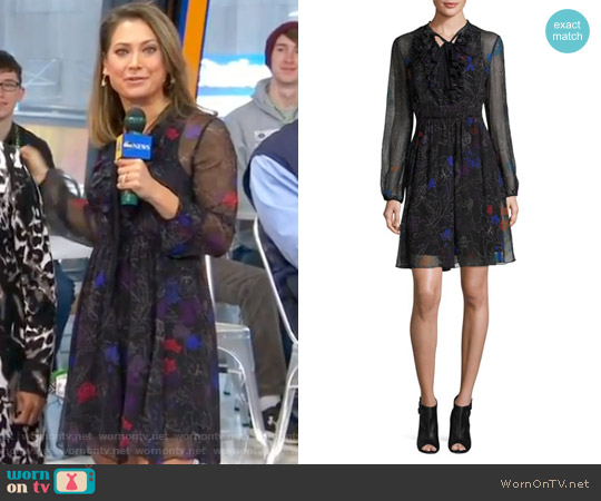 Desi Tie-Neck Floral Silk Chiffon Dress by Elie Tahari worn by Ginger Zee  on Good Morning America