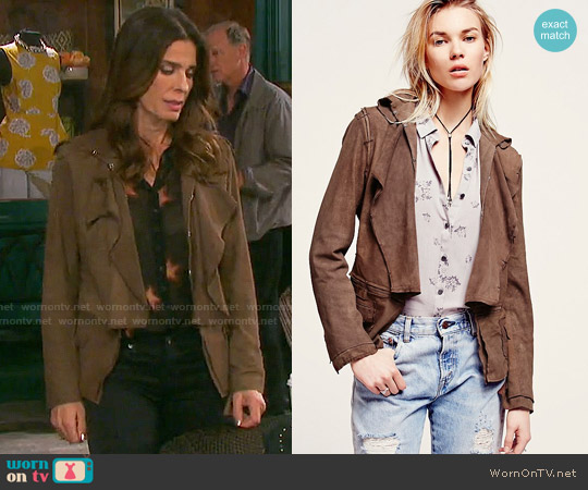 Free People Ruffled Suede Jacket worn by Hope Williams on Days of our Lives