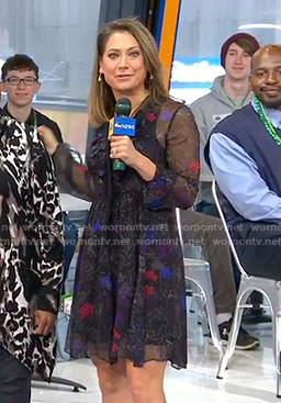 Ginger's black floral ruffled dress on Good Morning America