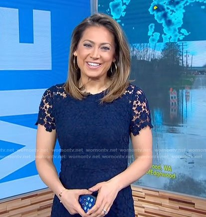 Ginger's navy floral lace dress on Good Morning America