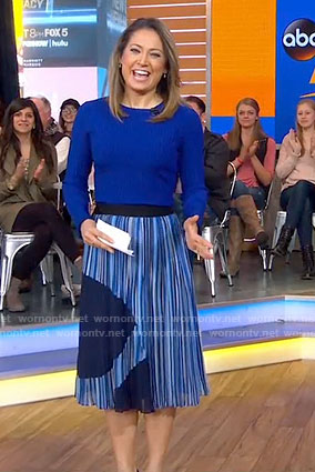 Ginger's blue sweater and striped skirt on Good Morning America