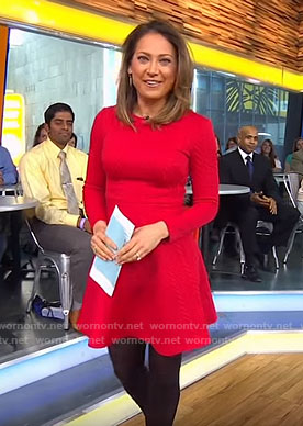 Ginger's red long sleeve dress on Good Morning America
