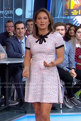 Ginger's white tweed dress with bow neck on Good Morning America