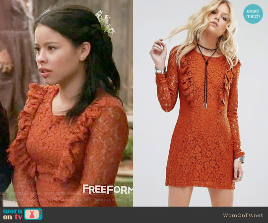 Glamorous Allover Lace Mini Skater Dress worn by Cierra Ramirez on The Fosters