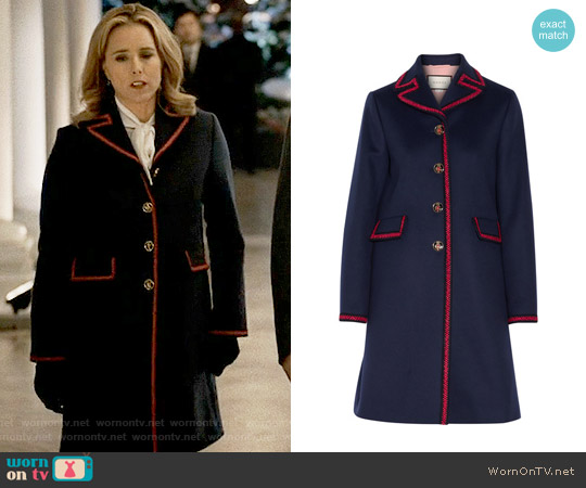 Gucci Embroidered Wool Coat worn by Téa Leoni on Madam Secretary