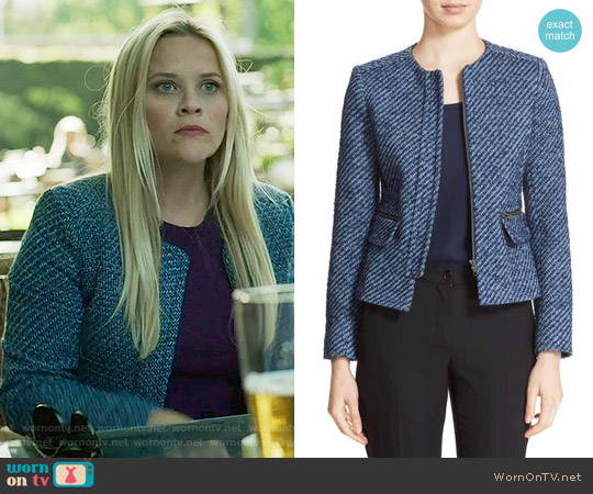 Helene Berman Zip Front Tweed Jacket worn by Reese Witherspoon on Big Little Lies