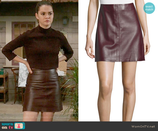 TheoryIrenah Wilmore Leather Miniskirt worn by Callie Jacob on The Fosters