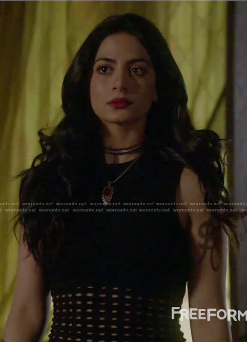 Isabelle's black perforated sleeveless top on Shadowhunters