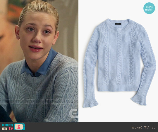 J. Crew Cable crewneck sweater with ruffle sleeves worn by Lili Reinhart on Riverdale