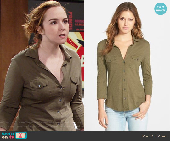 James Perse Sheer Slub Panel Shirt worn by Camryn Grimes on The Young & the Restless