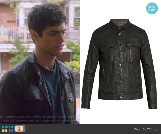 Distressed washed-linen jacket by John Varvatos worn by Alexander Lightwood (Matthew Daddario ) on Shadowhunters