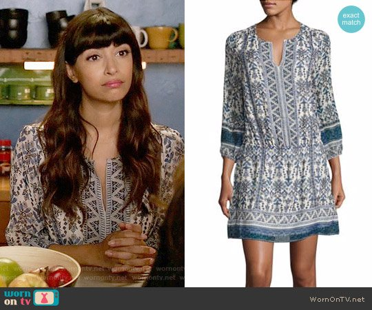 Joie Galene Geometric Border Print Silk Dress worn by Hannah Simone on New Girl