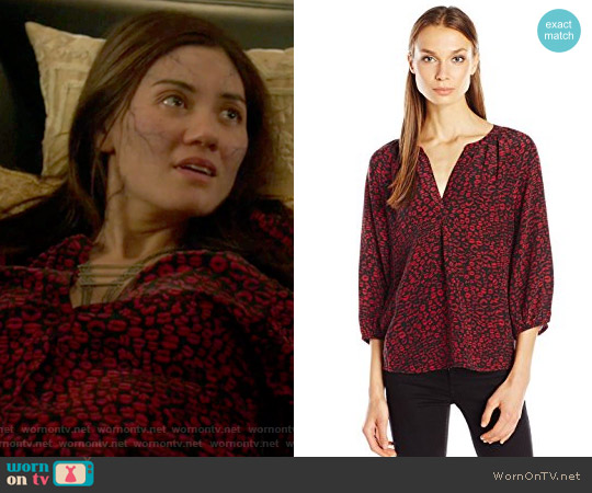 Addie B Lip Leopard Print Blouse by Joie worn by Vanessa Matsui on Shadowhunters