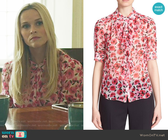 Kate Spade Rose Print Ruffle Silk Shirt worn by Reese Witherspoon on Big Little Lies