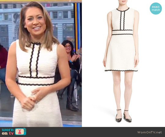 Scallop Trim Tweed Fit & Flare Dress by Kate Spade worn by Ginger Zee on Good Morning America