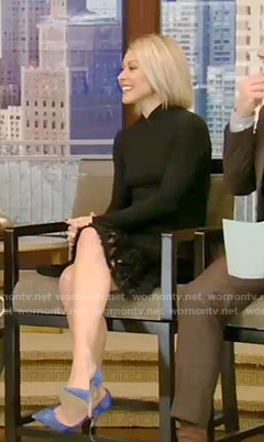Kelly's black flare skirt on Live With Kelly