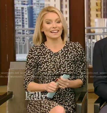 Kelly's black floral dress on Live with Kelly