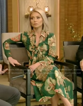 Kelly's green printed dress on Live with Kelly