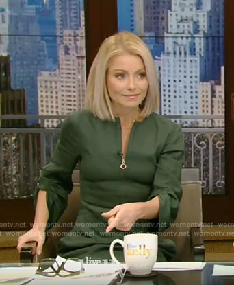 Kelly's green zip front dress with gathered sleeves on Live with Kelly